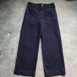 Anthropology denim pants ankle length wide leg